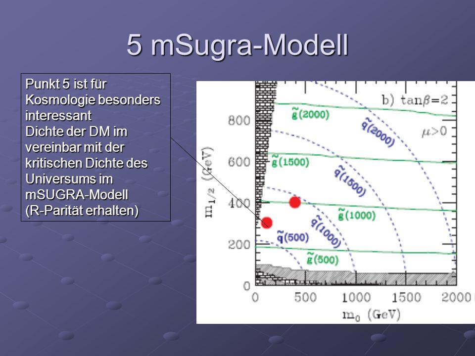 5 mSugra-Modell Punkt 5 ist für Kosmologie besonders interessant