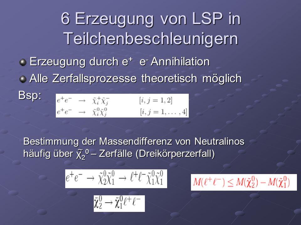6 Erzeugung von LSP in Teilchenbeschleunigern