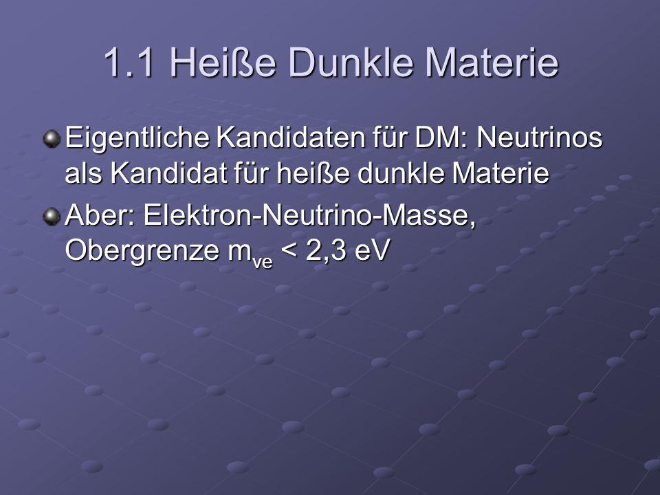 1.1 Heiße Dunkle Materie Eigentliche Kandidaten für DM: Neutrinos als Kandidat für heiße dunkle Materie.