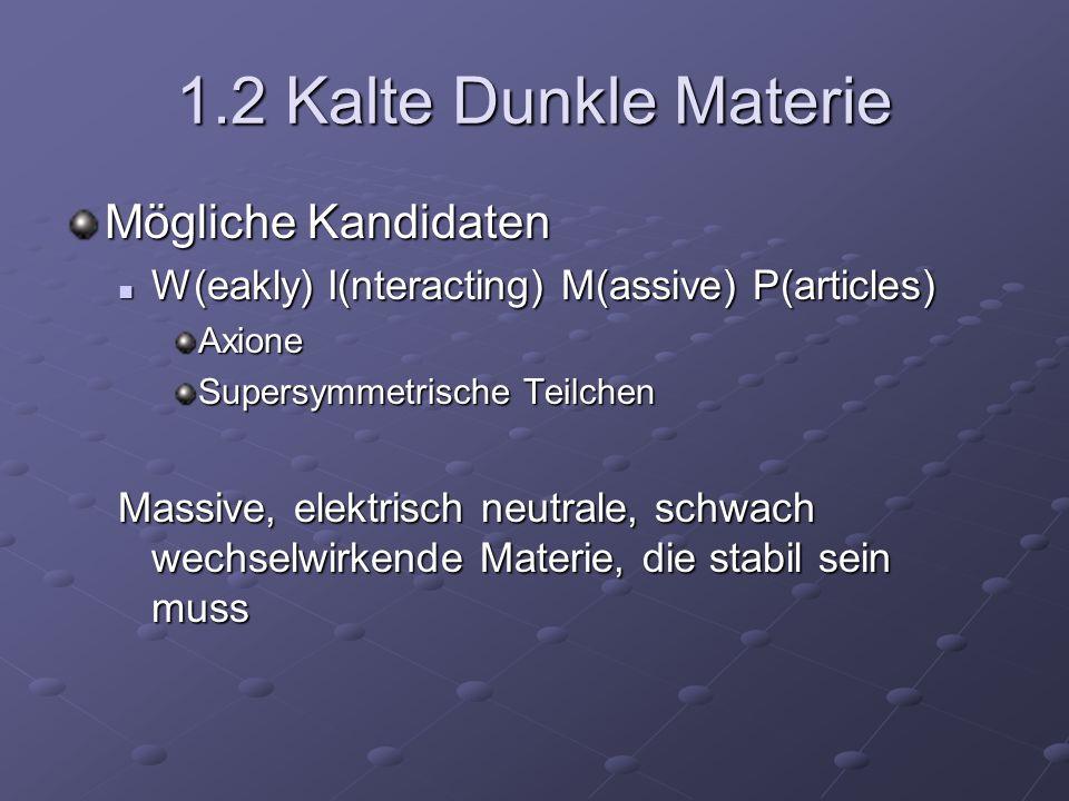 1.2 Kalte Dunkle Materie Mögliche Kandidaten