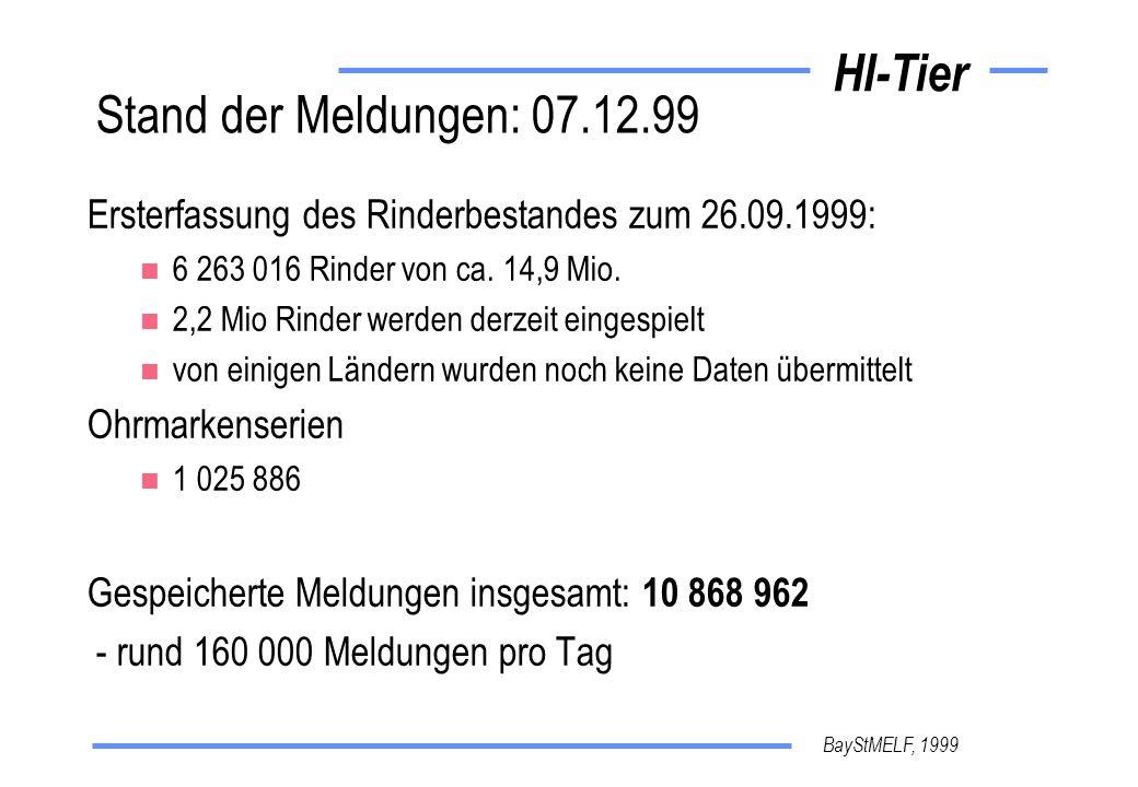 Stand der Meldungen: 07.12.99 Ersterfassung des Rinderbestandes zum 26.09.1999: 6 263 016 Rinder von ca. 14,9 Mio.
