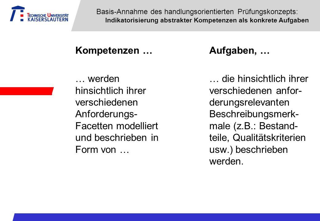 Basis-Annahme des handlungsorientierten Prüfungskonzepts: Indikatorisierung abstrakter Kompetenzen als konkrete Aufgaben