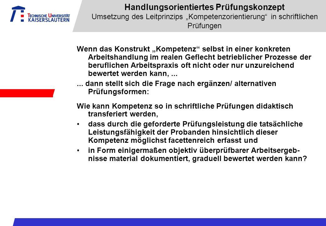 """Handlungsorientiertes Prüfungskonzept Umsetzung des Leitprinzips """"Kompetenzorientierung in schriftlichen Prüfungen"""