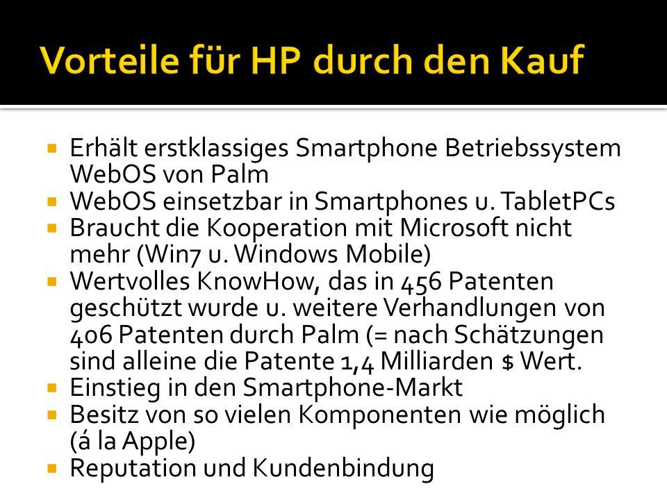 Erhält erstklassiges Smartphone Betriebssystem WebOS von Palm