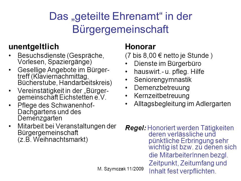 """Das """"geteilte Ehrenamt in der Bürgergemeinschaft"""