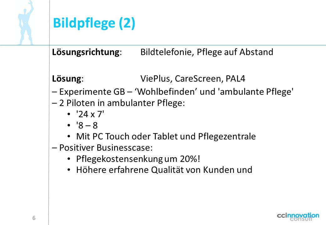 Bildpflege (2) Lösungsrichtung: Bildtelefonie, Pflege auf Abstand