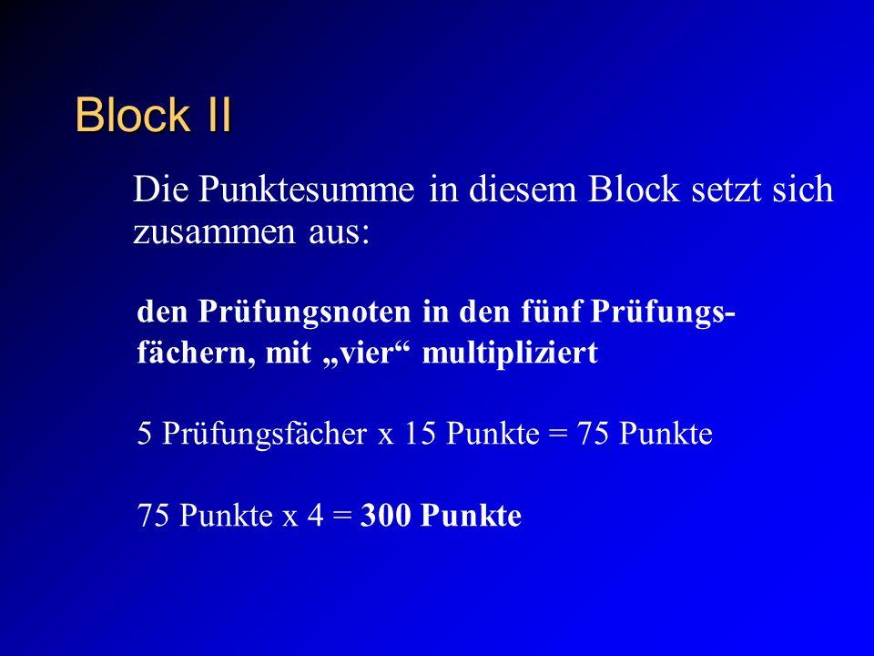 Block II Die Punktesumme in diesem Block setzt sich zusammen aus: