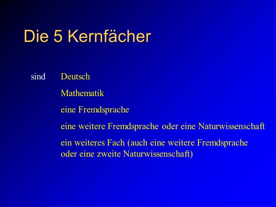 Die 5 Kernfächer sind Deutsch Mathematik eine Fremdsprache