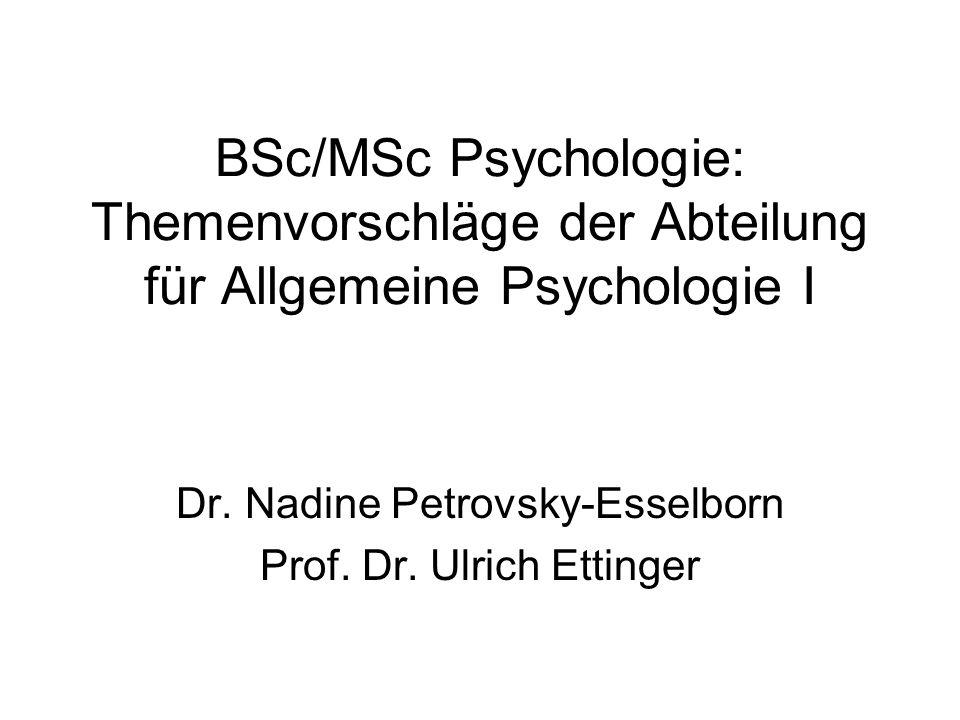 Dr. Nadine Petrovsky-Esselborn Prof. Dr. Ulrich Ettinger