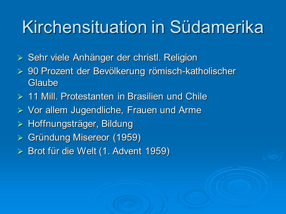 Kirchensituation in Südamerika