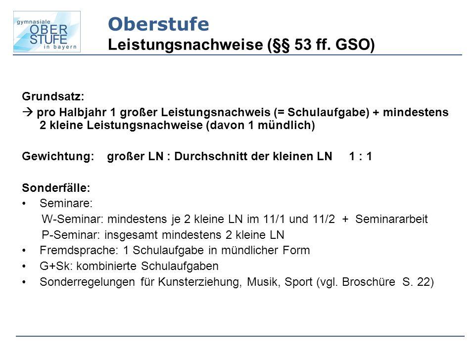 Oberstufe Leistungsnachweise (§§ 53 ff. GSO)