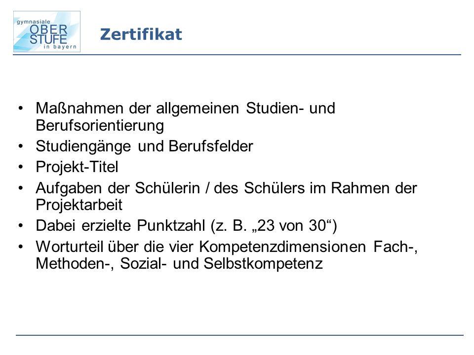 Zertifikat Maßnahmen der allgemeinen Studien- und Berufsorientierung. Studiengänge und Berufsfelder.