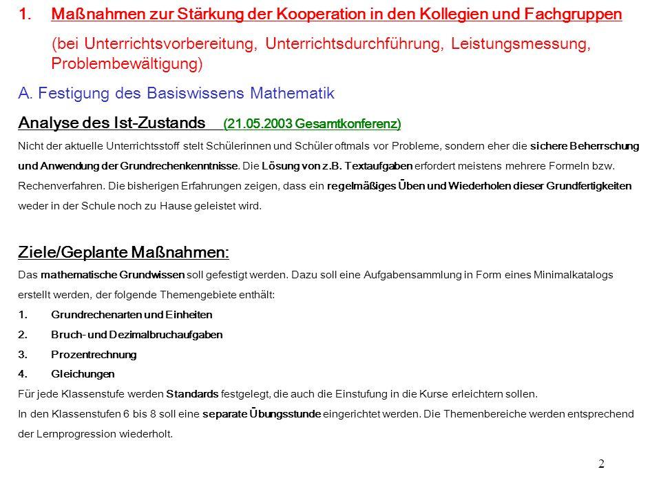 A. Festigung des Basiswissens Mathematik