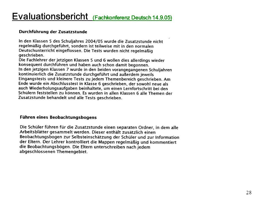 Evaluationsbericht (Fachkonferenz Deutsch 14.9.05)