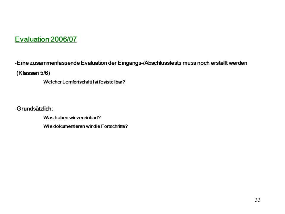 Evaluation 2006/07 Eine zusammenfassende Evaluation der Eingangs-/Abschlusstests muss noch erstellt werden.