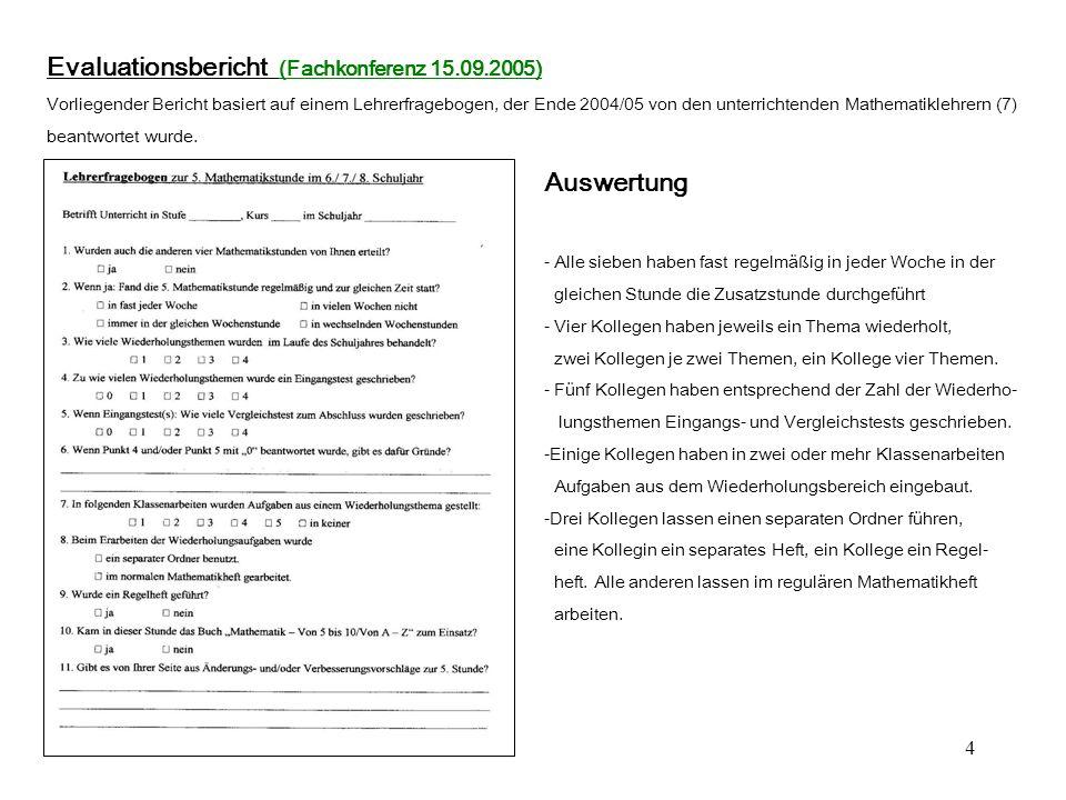 Evaluationsbericht (Fachkonferenz 15.09.2005)