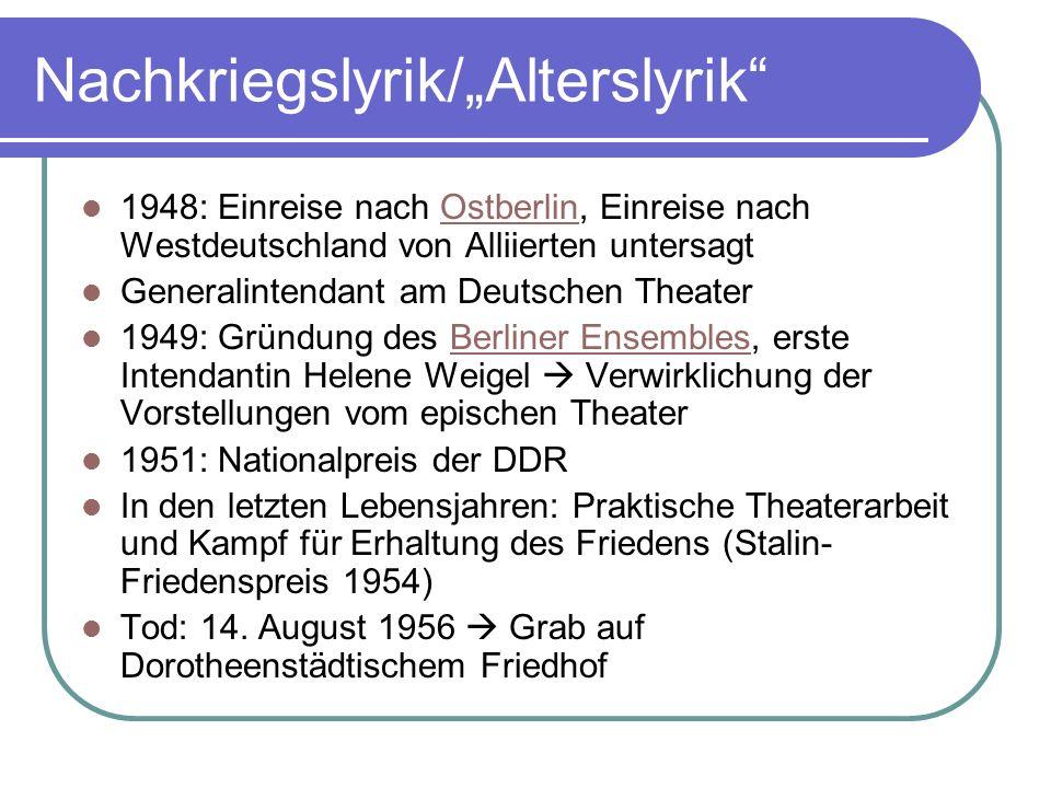 "Nachkriegslyrik/""Alterslyrik"