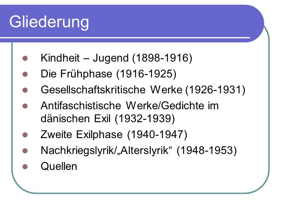 Gliederung Kindheit – Jugend (1898-1916) Die Frühphase (1916-1925)