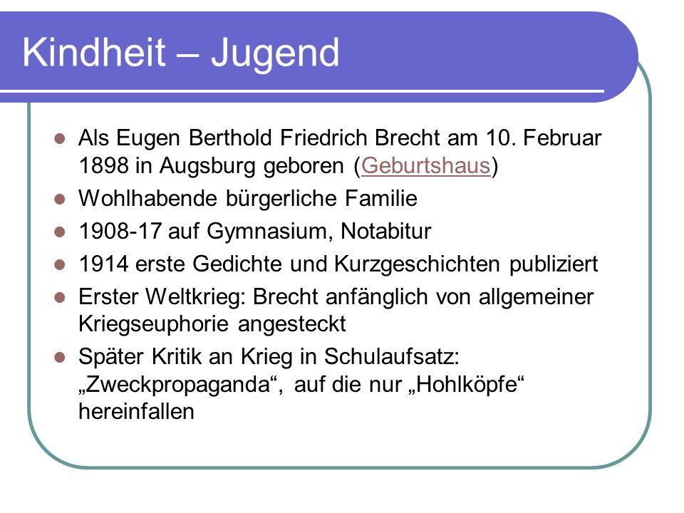 Kindheit – Jugend Als Eugen Berthold Friedrich Brecht am 10. Februar 1898 in Augsburg geboren (Geburtshaus)