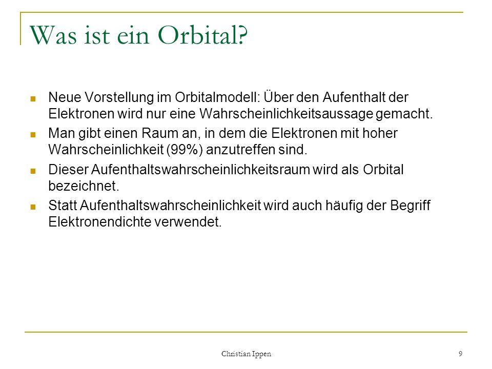 Was ist ein Orbital Neue Vorstellung im Orbitalmodell: Über den Aufenthalt der Elektronen wird nur eine Wahrscheinlichkeitsaussage gemacht.