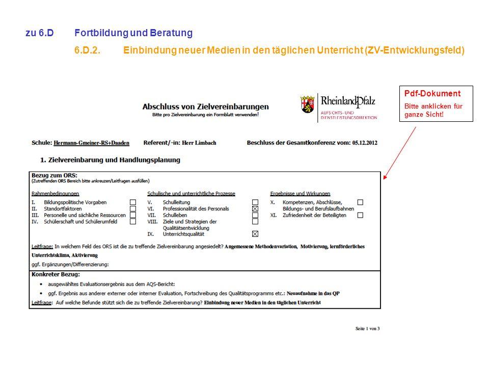 zu 6.D Fortbildung und Beratung