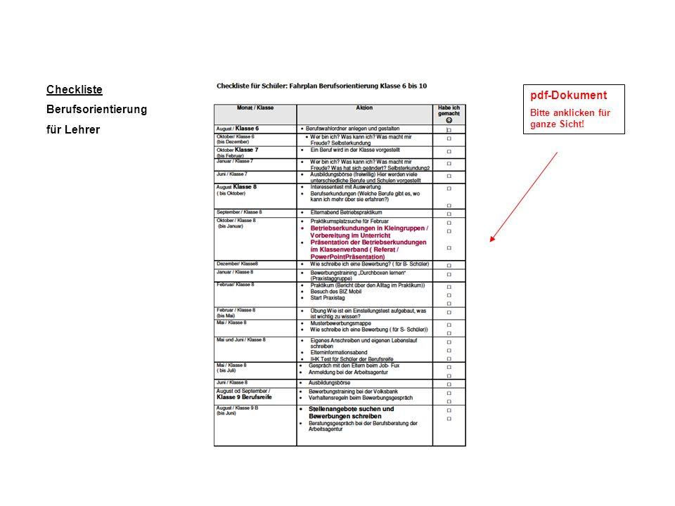 Checkliste Berufsorientierung pdf-Dokument für Lehrer