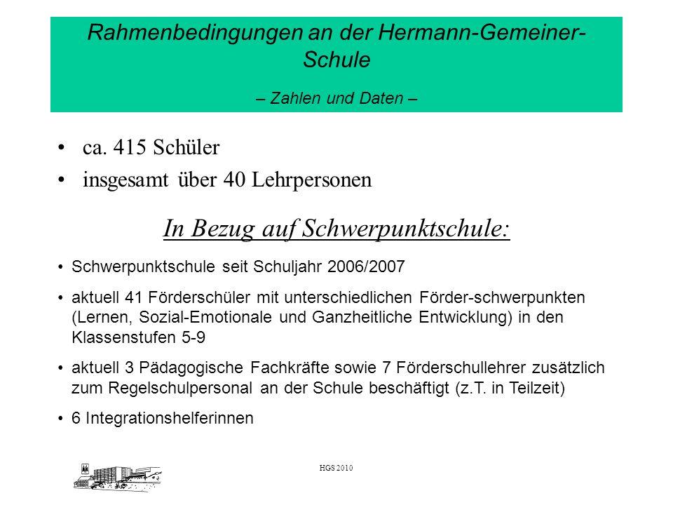 Rahmenbedingungen an der Hermann-Gemeiner-Schule – Zahlen und Daten –