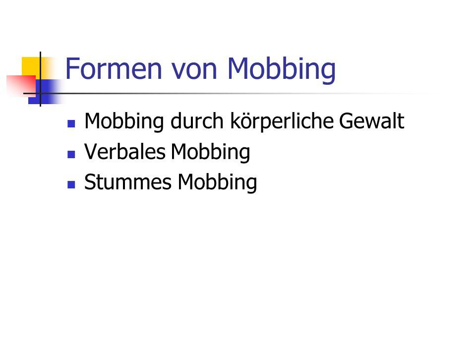 Formen von Mobbing Mobbing durch körperliche Gewalt Verbales Mobbing