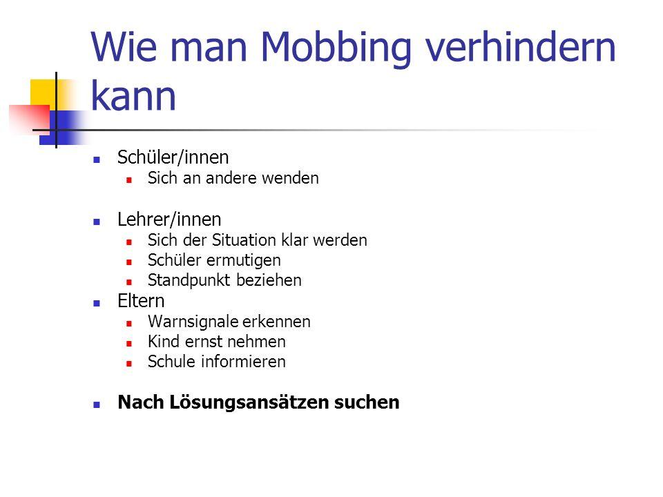 Wie man Mobbing verhindern kann