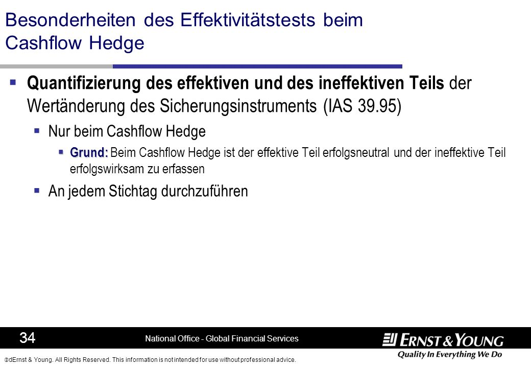 Besonderheiten des Effektivitätstests beim Cashflow Hedge