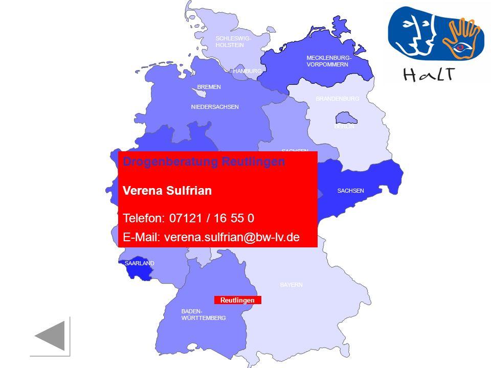 Drogenberatung Reutlingen Verena Sulfrian Telefon: 07121 / 16 55 0