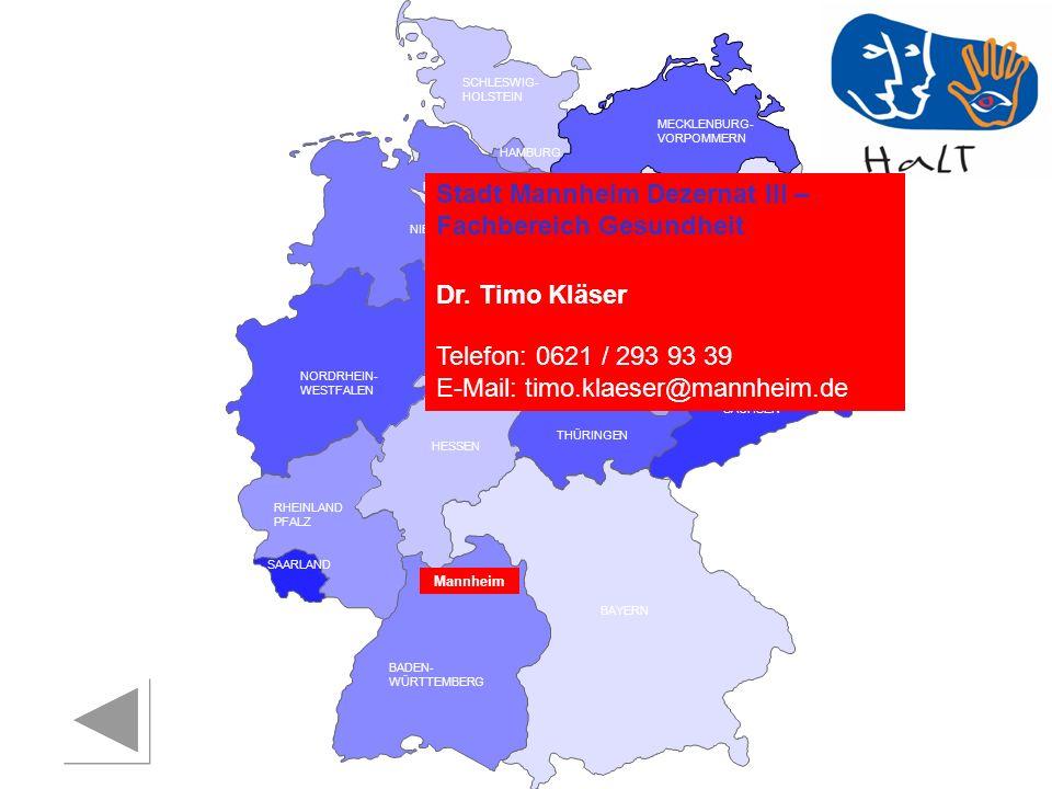 Stadt Mannheim Dezernat III – Fachbereich Gesundheit