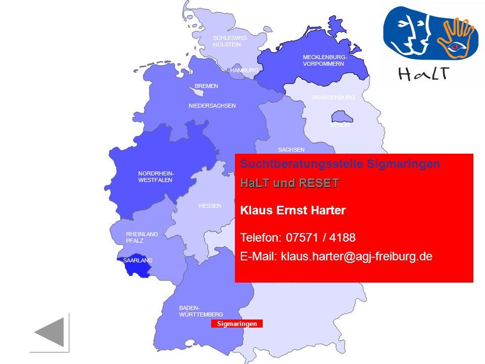 Suchtberatungsstelle Sigmaringen HaLT und RESET Klaus Ernst Harter