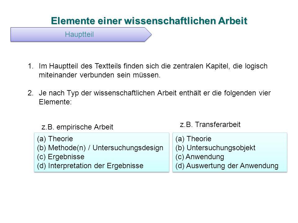 Elemente einer wissenschaftlichen Arbeit