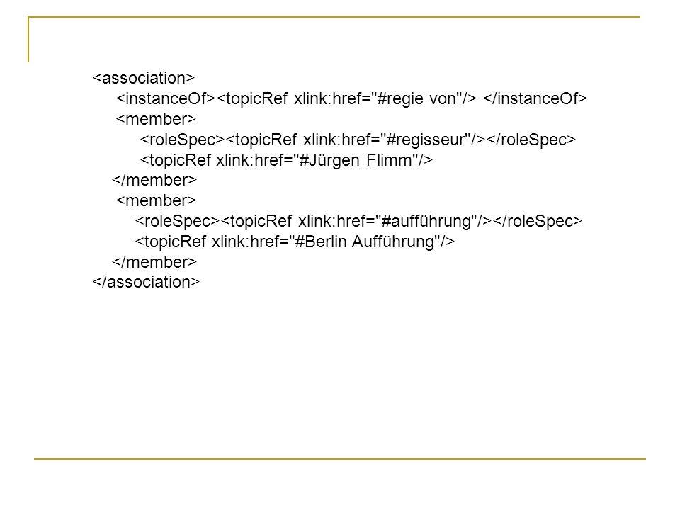 <association> <instanceOf><topicRef xlink:href= #regie von /> </instanceOf> <member> <roleSpec><topicRef xlink:href= #regisseur /></roleSpec>