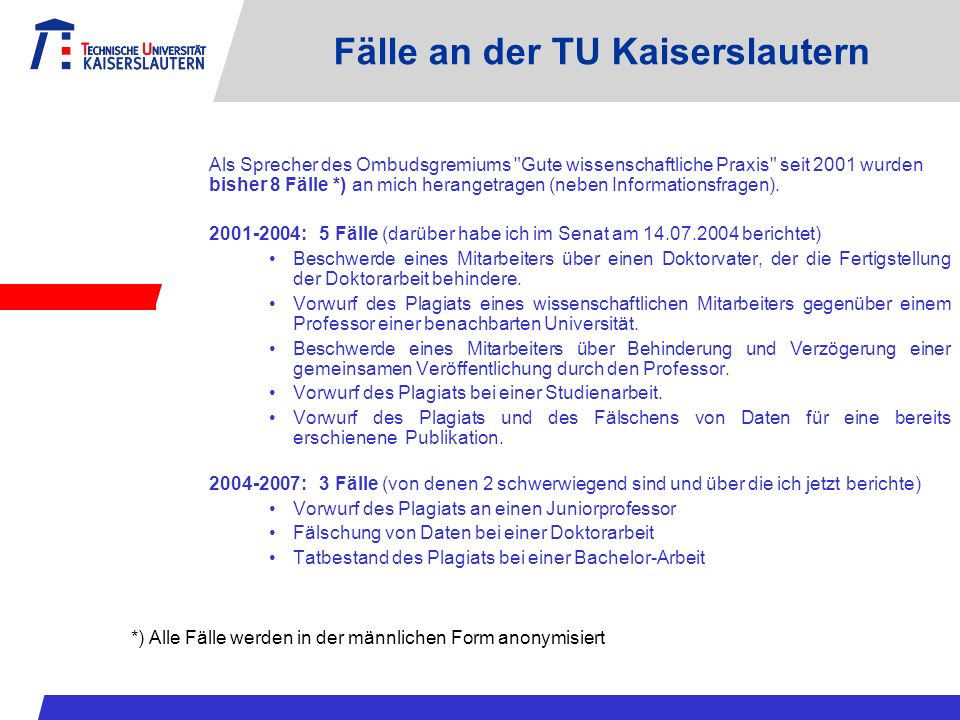 Fälle an der TU Kaiserslautern
