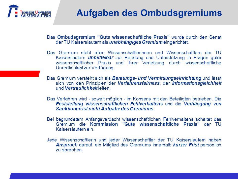 Aufgaben des Ombudsgremiums