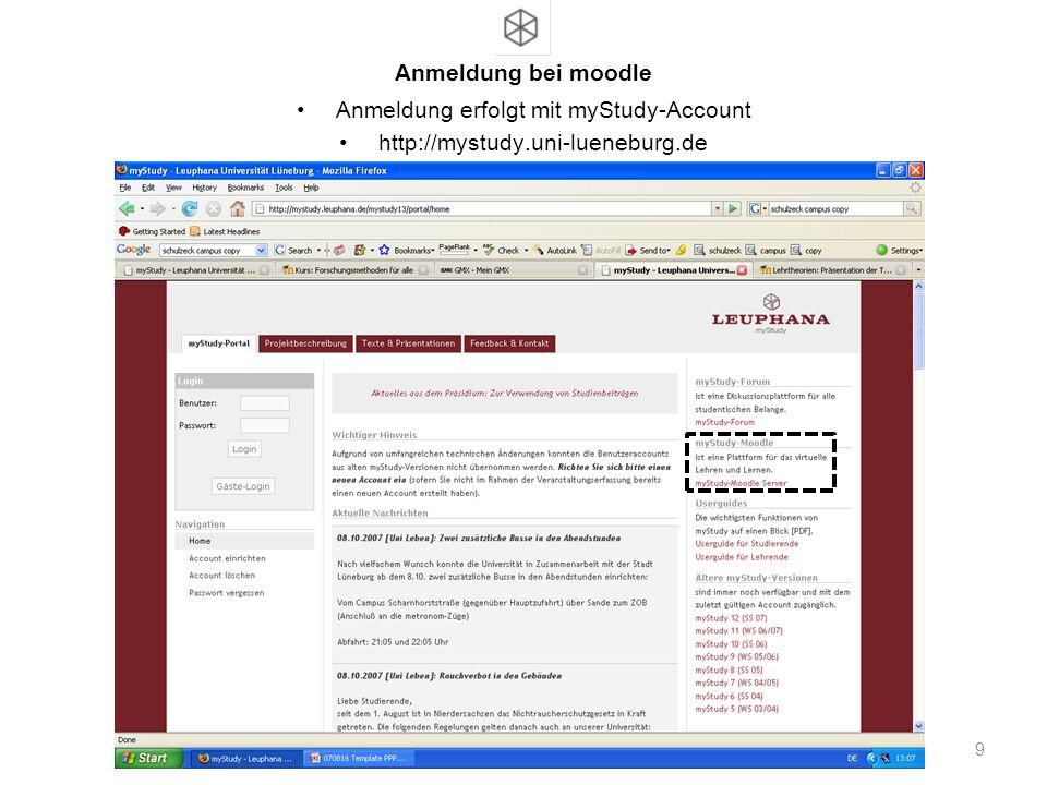 Anmeldung erfolgt mit myStudy-Account