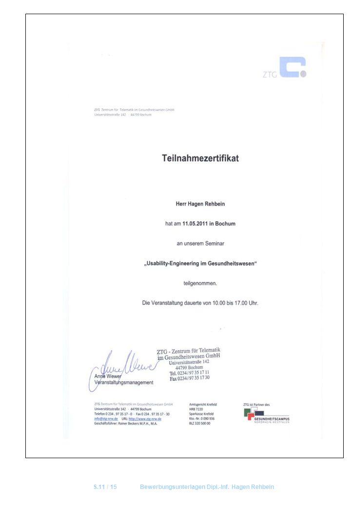 S.11 / 15 Bewerbungsunterlagen Dipl.-Inf. Hagen Rehbein