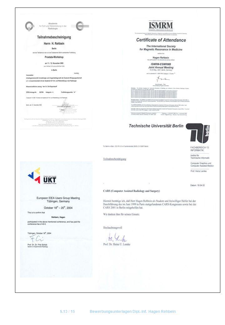 S.13 / 15 Bewerbungsunterlagen Dipl.-Inf. Hagen Rehbein