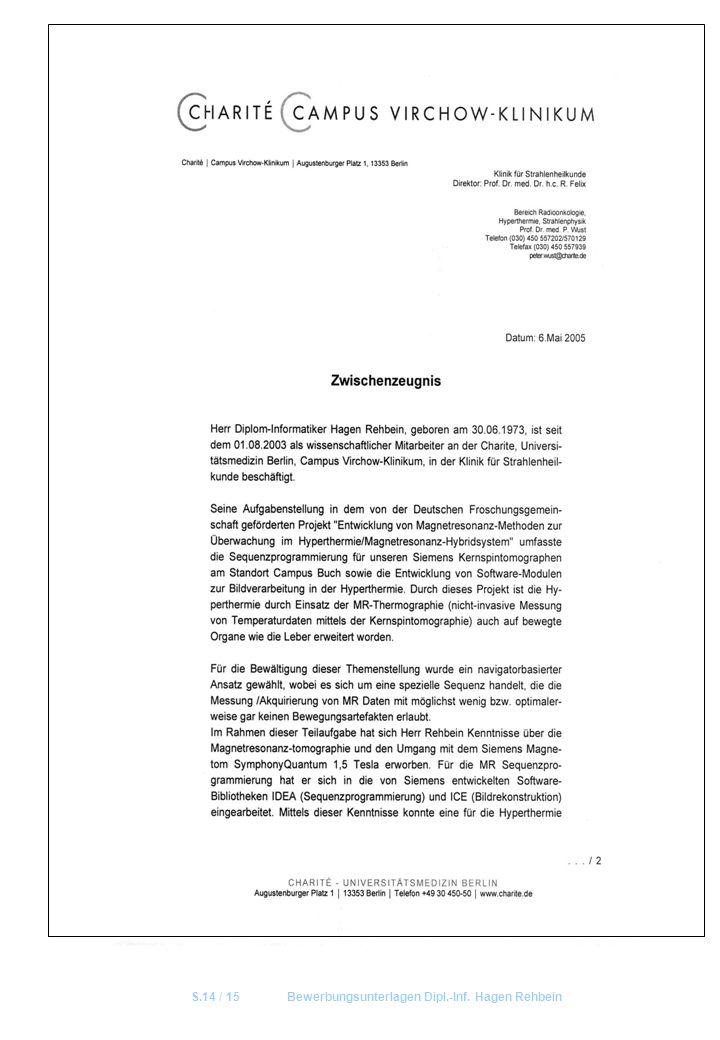 S.14 / 15 Bewerbungsunterlagen Dipl.-Inf. Hagen Rehbein