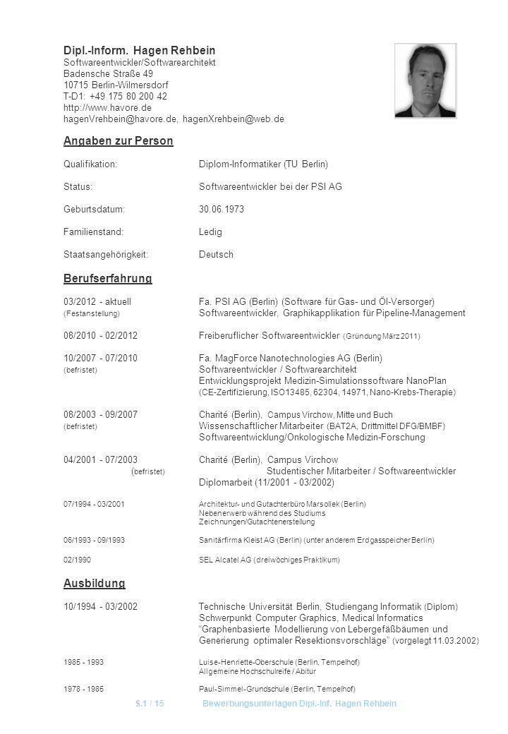 S.1 / 15 Bewerbungsunterlagen Dipl.-Inf. Hagen Rehbein