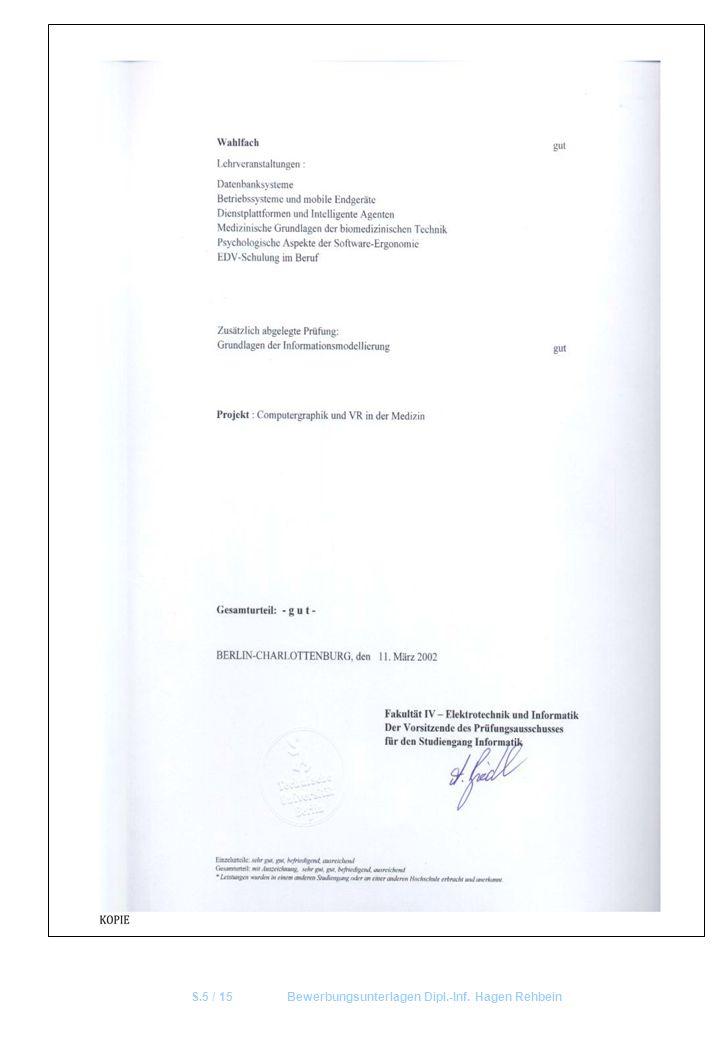 S.5 / 15 Bewerbungsunterlagen Dipl.-Inf. Hagen Rehbein