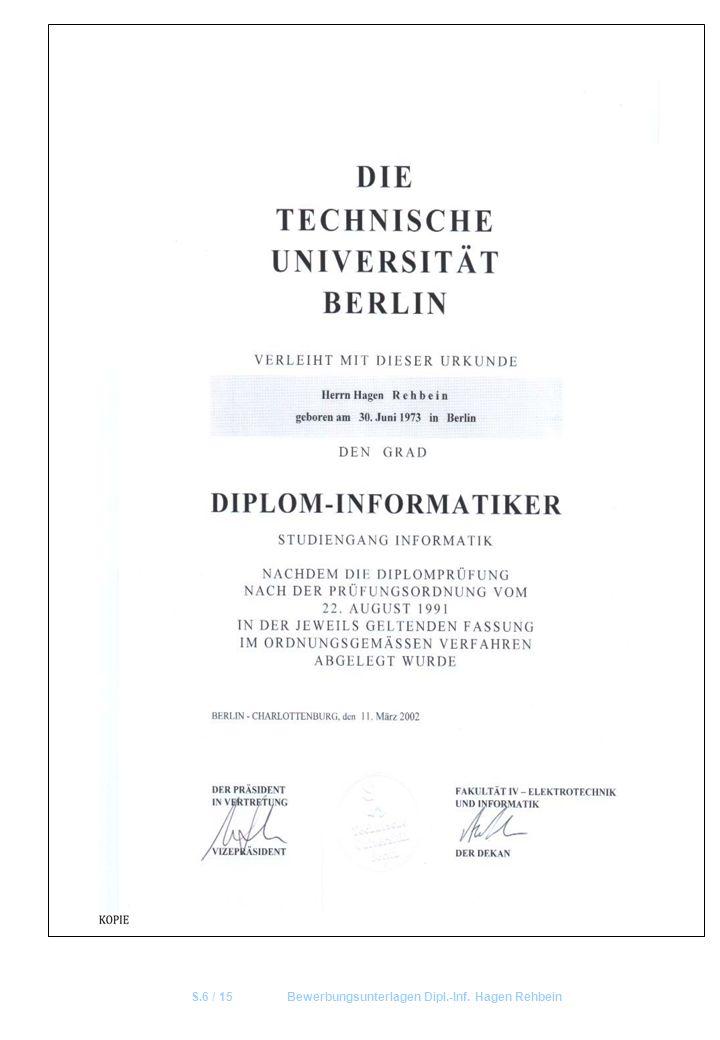 S.6 / 15 Bewerbungsunterlagen Dipl.-Inf. Hagen Rehbein