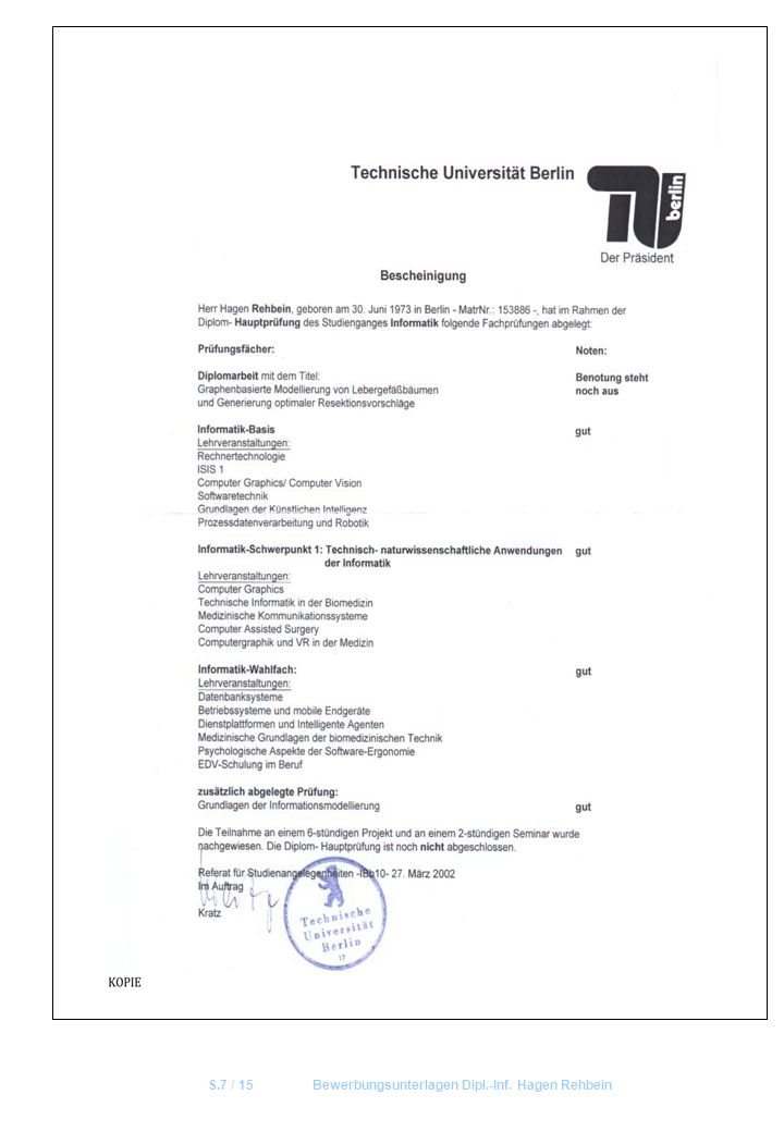 S.7 / 15 Bewerbungsunterlagen Dipl.-Inf. Hagen Rehbein