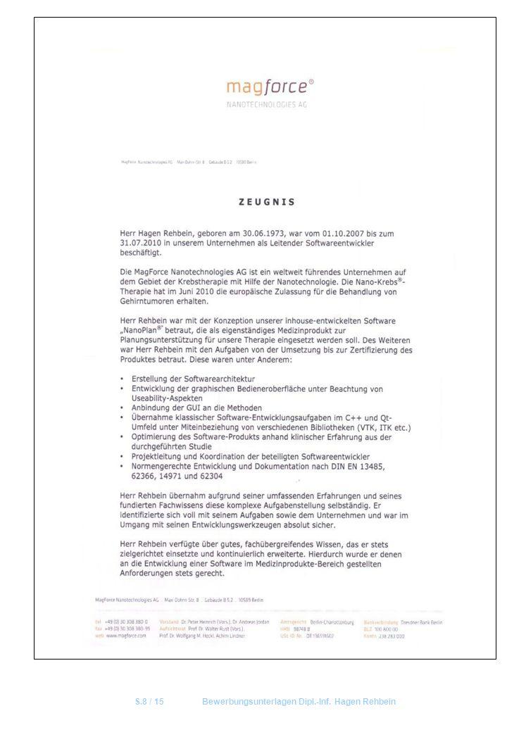 S.8 / 15 Bewerbungsunterlagen Dipl.-Inf. Hagen Rehbein