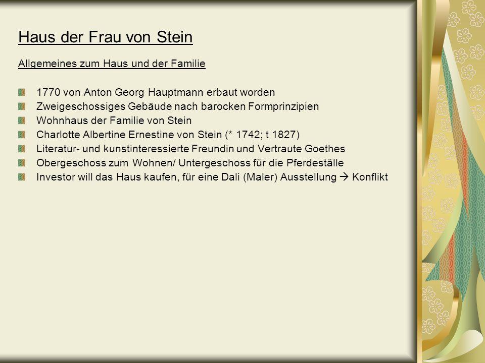 Haus der Frau von Stein Allgemeines zum Haus und der Familie