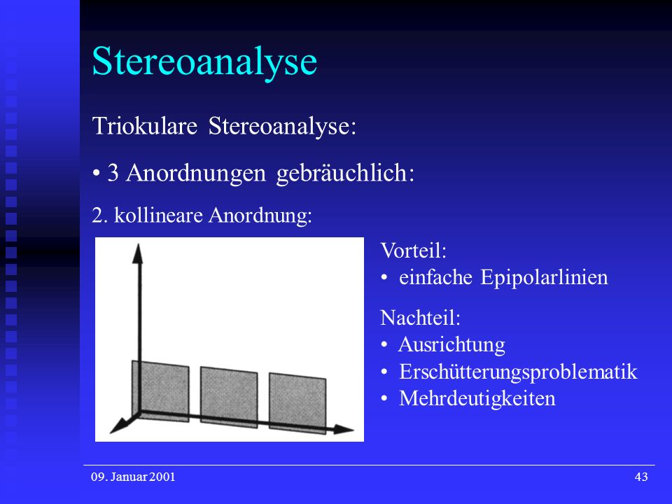 Stereoanalyse Triokulare Stereoanalyse: 3 Anordnungen gebräuchlich: