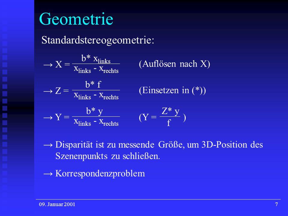 Geometrie Standardstereogeometrie: b* xlinks (Auflösen nach X) → X =