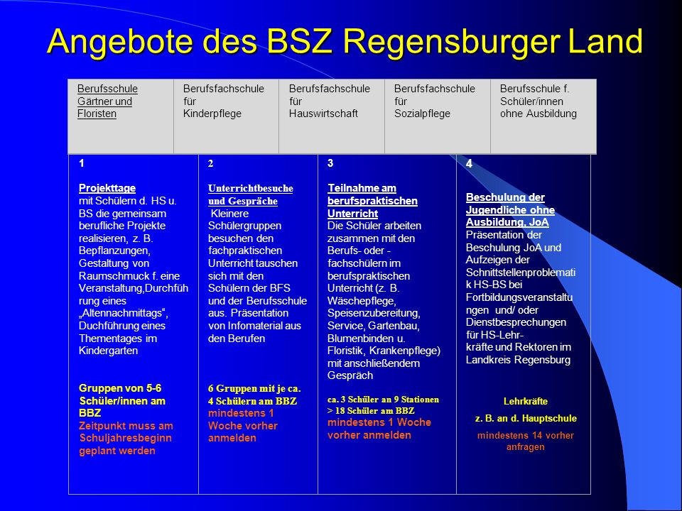 Angebote des BSZ Regensburger Land